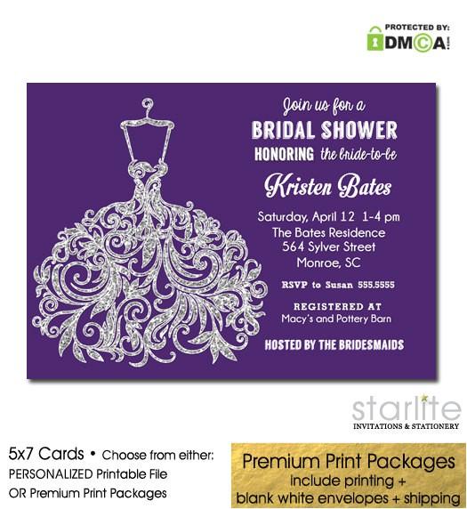 purple silver glitter bridal shower invitation 2