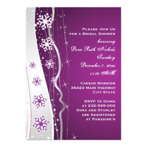purple silver grey snowflake wedding bridal shower invitation