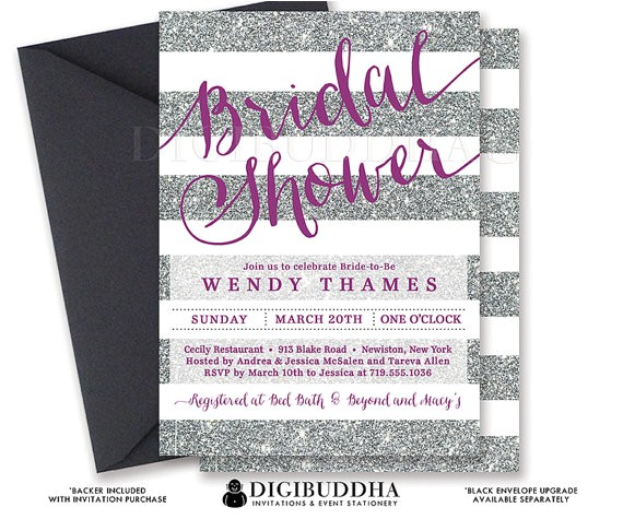 Purple and Silver Bridal Shower Invitations Silver & Purple Bridal Shower Invitation Stripes Printable