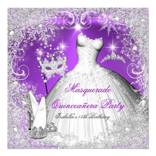 masquerade quinceanera purple silver snowflakes invitation 161573989575233064