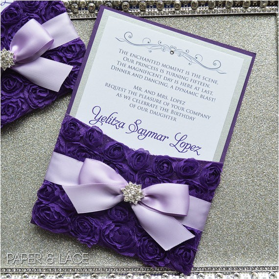 Purple and Silver Quinceanera Invitations Purple Rosette Quince Invitation Purple and Silver Swarovski