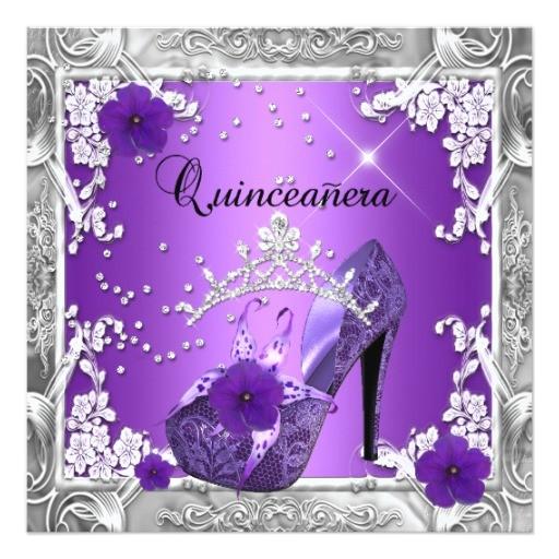 quinceanera 15 birthday party purple silver invitation 161819372295963012
