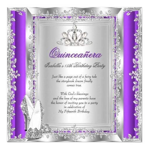 quinceanera 15th birthday purple silver shoes invitation 256097465091094773