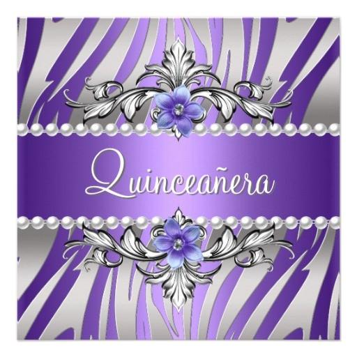 quinceanera zebra purple pearl silver invitation 161608861015582886