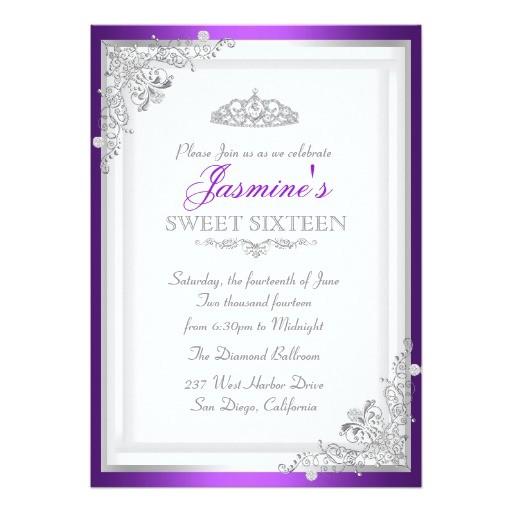 silver purple damask tiara sweet 16 invitation 161765903173560510