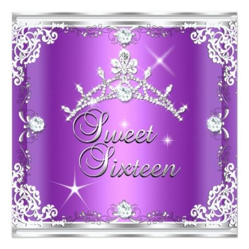 sweet sixteen sweet 16 purple silver diamond tiara invitation 161216586204616873
