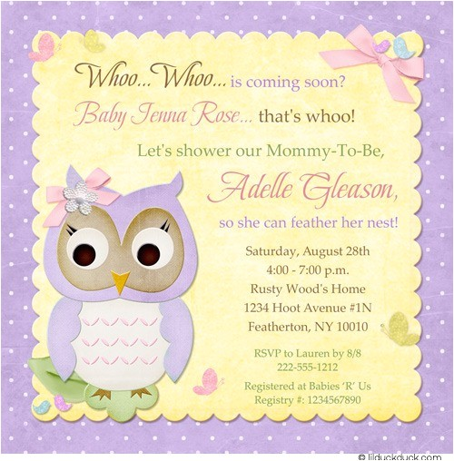 butterfly owl baby shower invitation