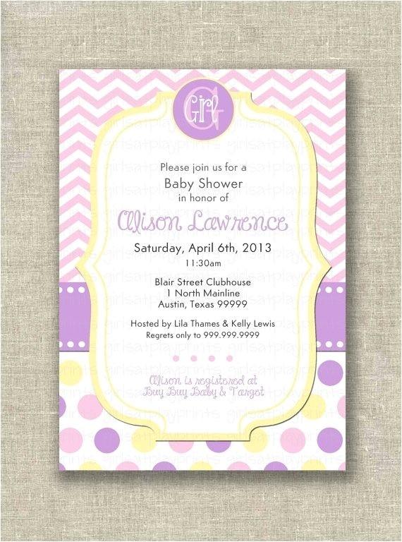 purple and yellow baby shower invitations