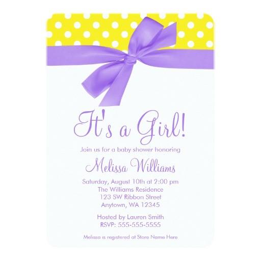 purple yellow bow polka dot baby shower invitation