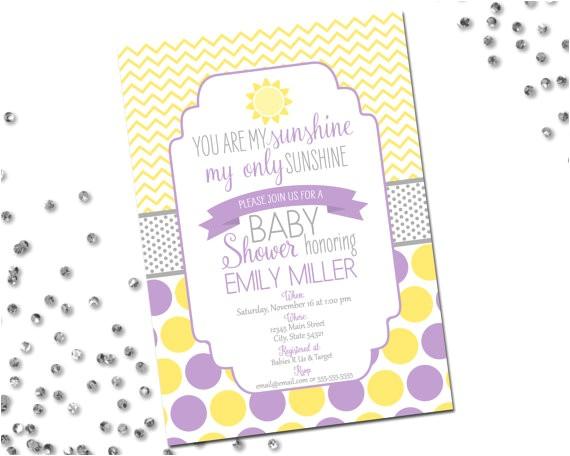 sunshine baby shower invitation yellow purple