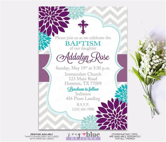 baptism invitation floral purple