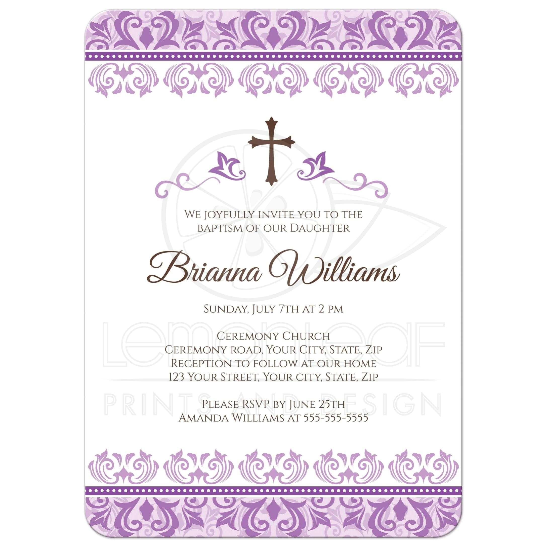 elegant purple damask borders baptism christening invitation for girls