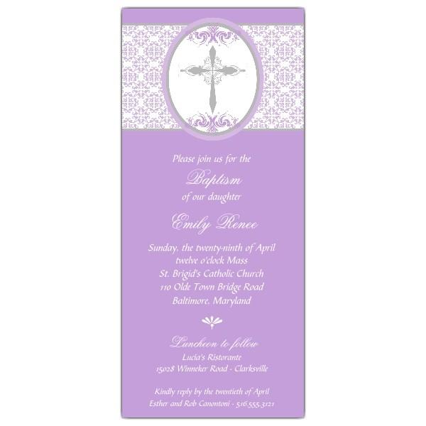 Framed Cross Purple Christening Invitations p 606 49 DMC BA