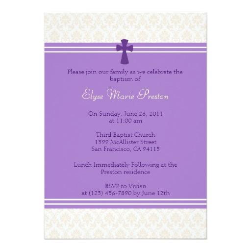 purple damask baptism christening invitation