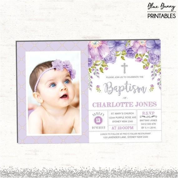 purple floral baptism invitation silver purple