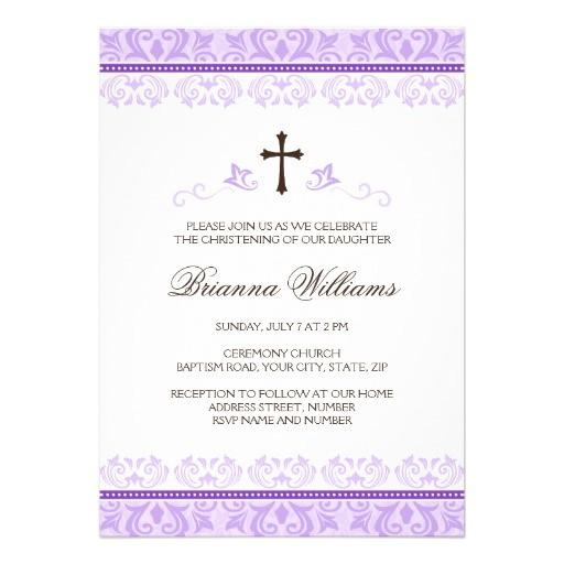 purple lace girls baptism or christening invitation