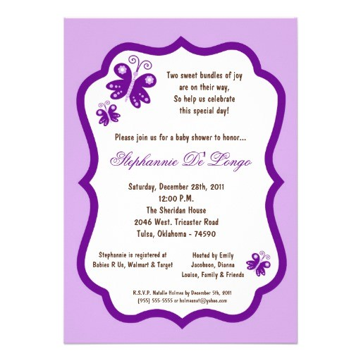 5x7 light purple butterfly baby shower invitation