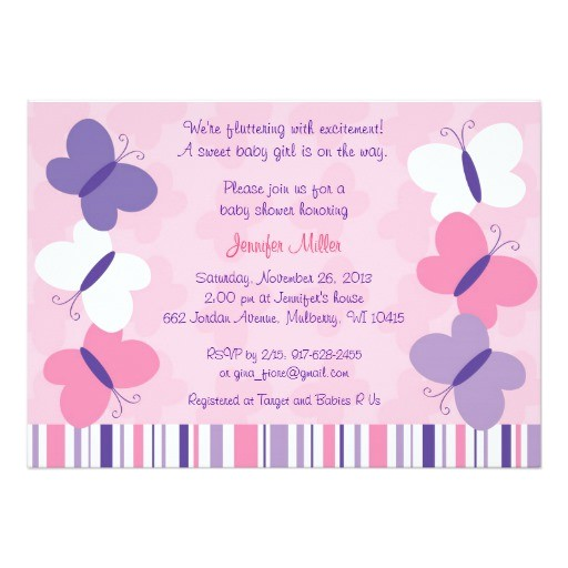 pink purple butterfly baby shower invitations