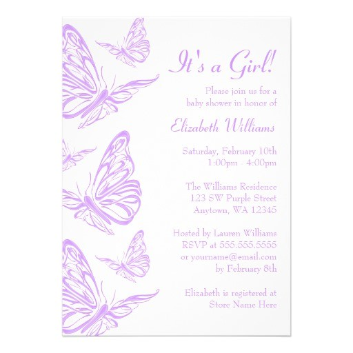 pretty purple butterfly baby shower invitations