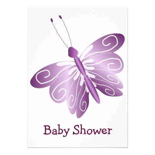 purple butterfly baby shower invites