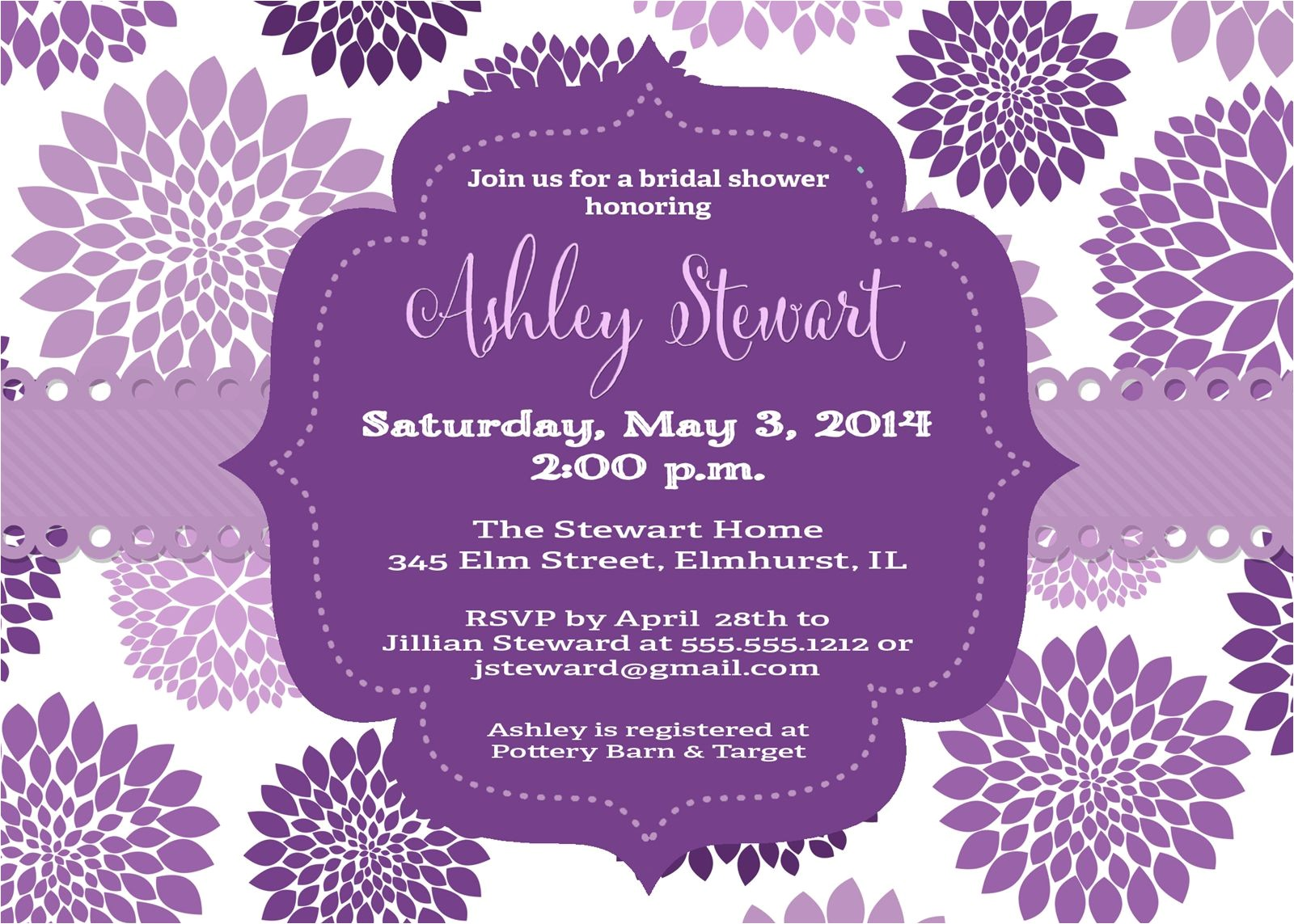 purple butterfly bridal shower invitations