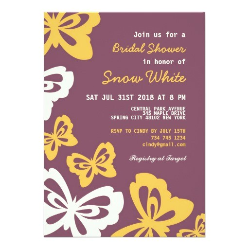 purple butterfly bridal shower wedding invitation