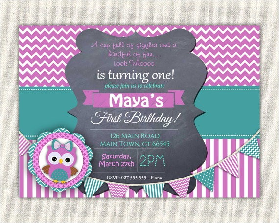 girls 1st birthday invitation purple green