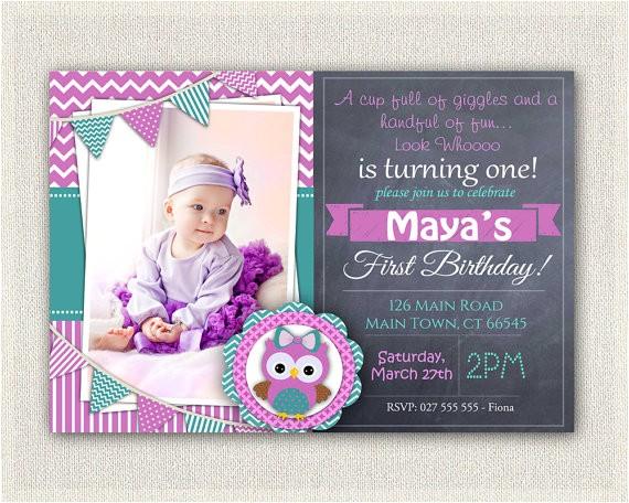 girls 1st birthday invitation purple green 2