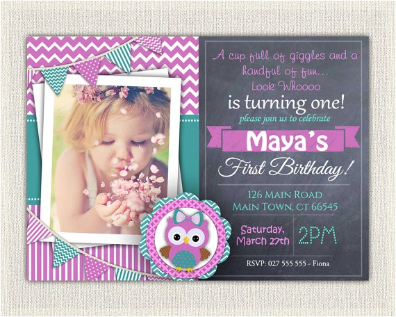 Purple Owl First Birthday Invitations Girls 1st Birthday Invitation Purple Green Owl