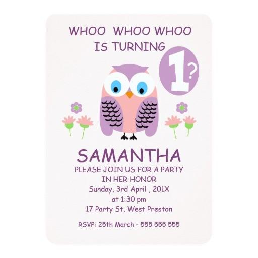 girls purple owl 1st birthday party invitation