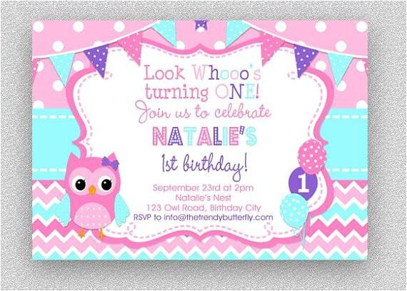 pink purple turquoise owl invitation girls