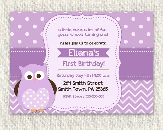 purple birthday invitation girls owl lavender