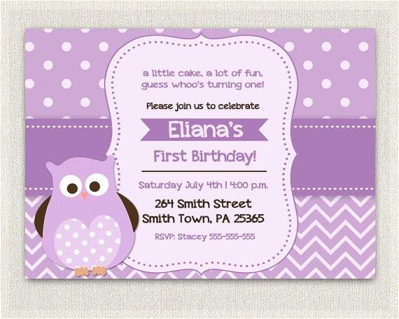 purple birthday invitation girls owl lavender