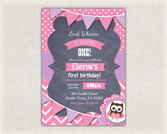 purple birthday invitation girls owl lavender 3
