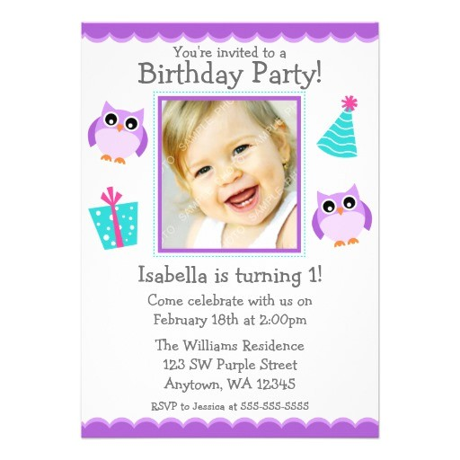 purple owl party 1st birthday girl photo invitation