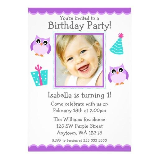 purple owl party 1st birthday girl photo invitation