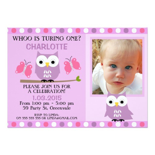 purple owls butterflies 1st birthday invitation