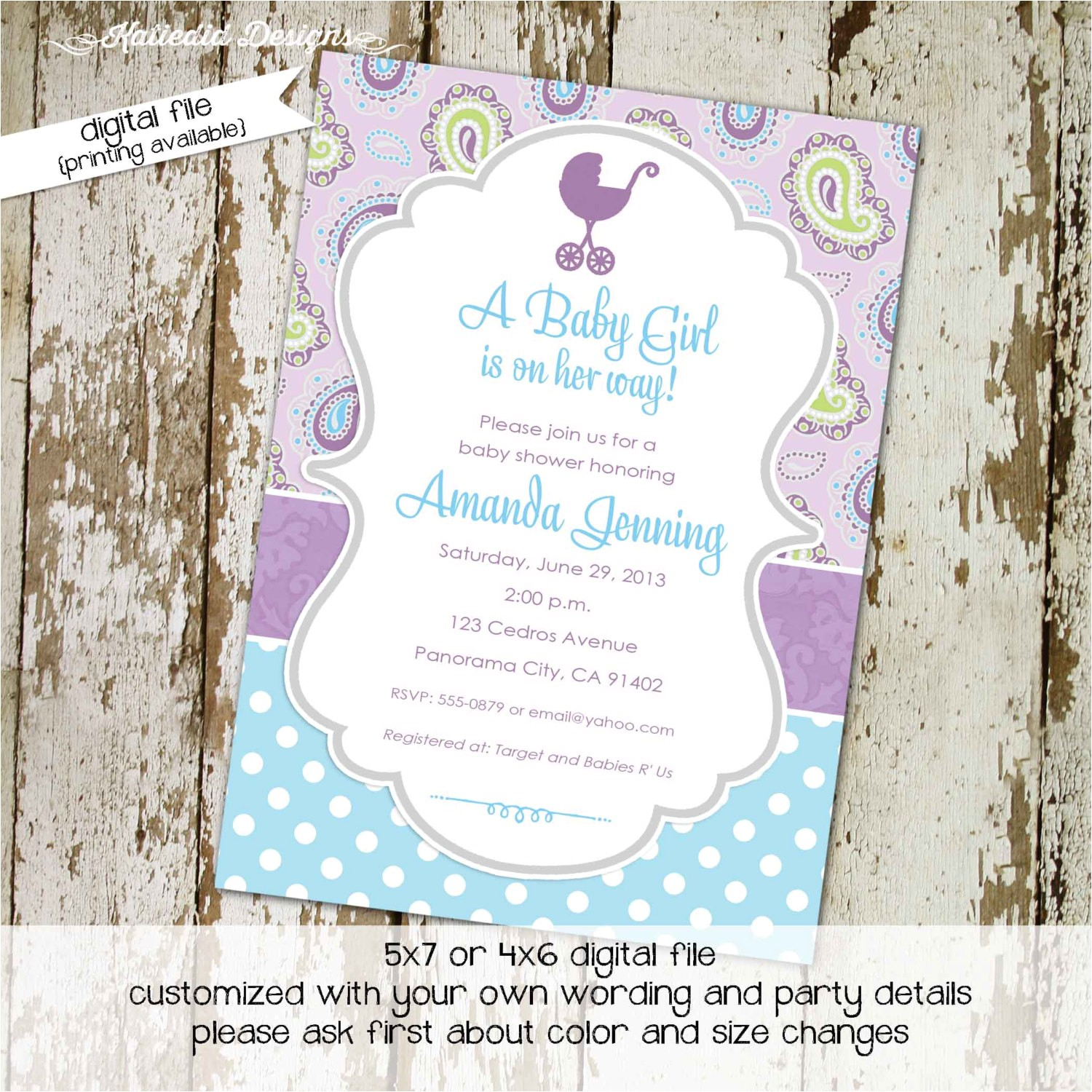 once upon a time baby shower purple aqua invitation paisley polk