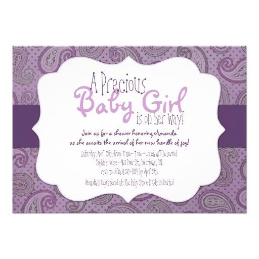 "Purple Paisley Baby Shower Invitations Purple Paisley Baby Girl Shower Invitation 5"" X 7"
