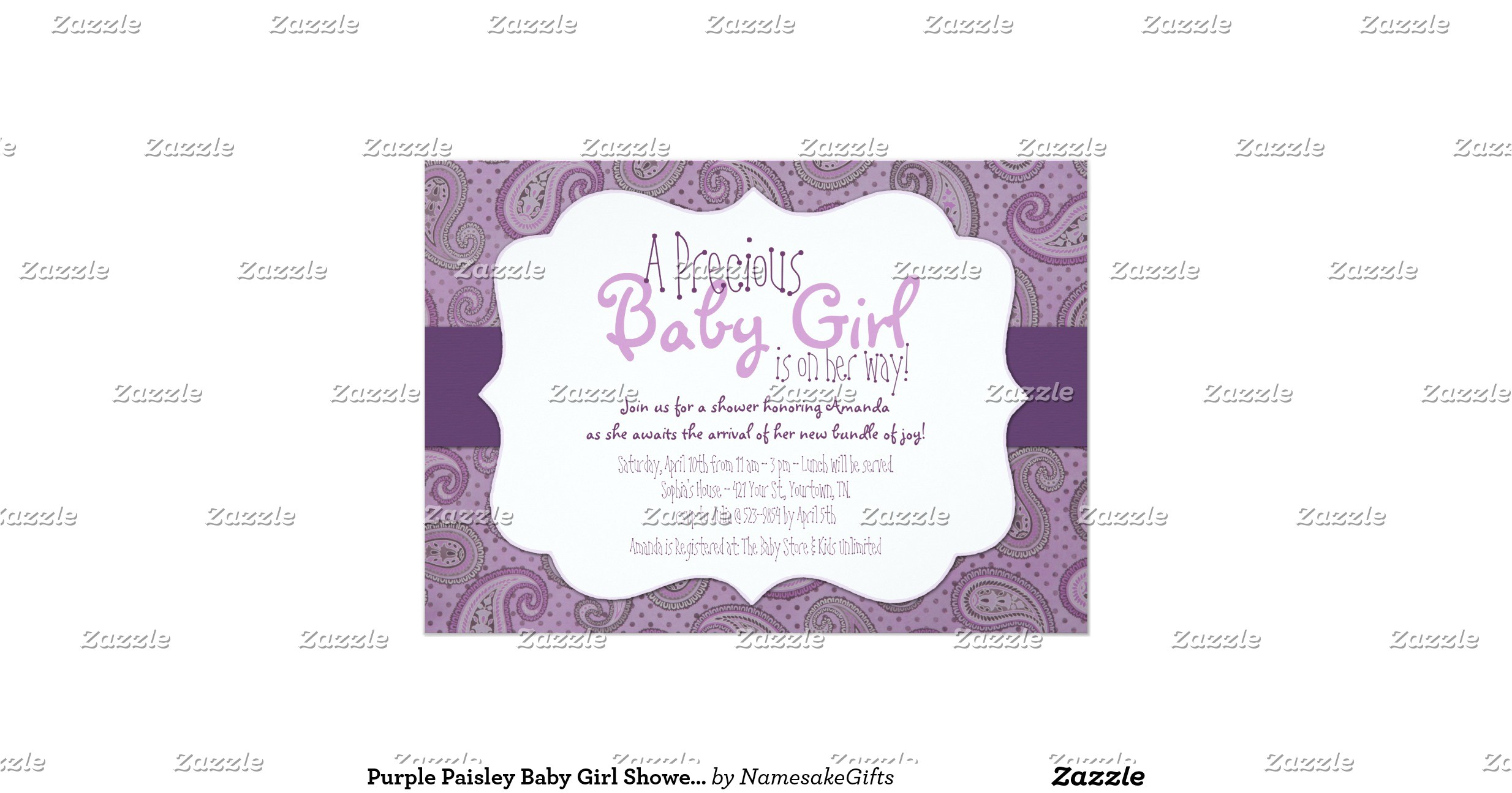 purple paisley baby girl shower invitation