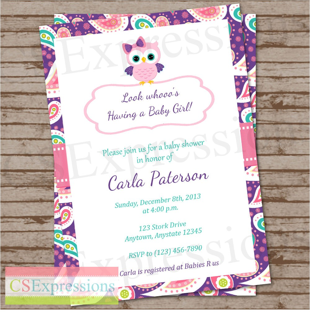 purple paisley owl baby shower