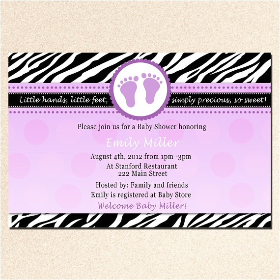 personalized baby shower zebra purple