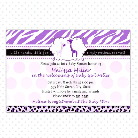 purple giraffe baby girl shower