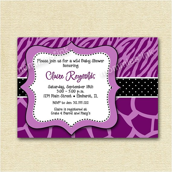 wild baby shower invitation purple zebra