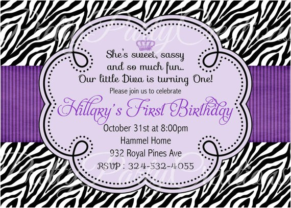 purple zebra invitation birthday baby