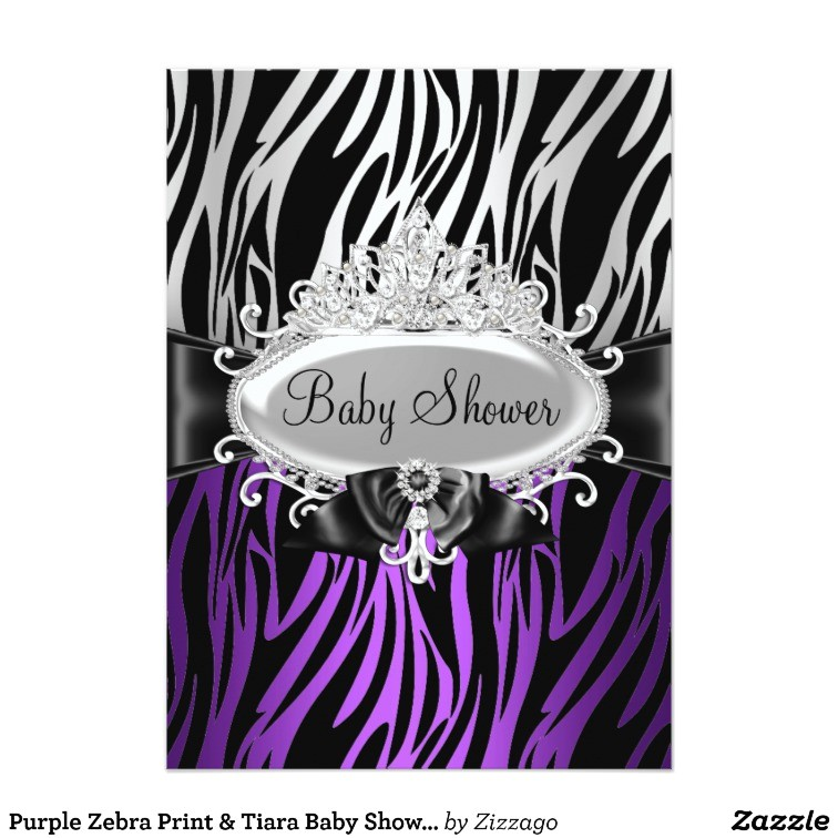 purple zebra print tiara baby shower invite