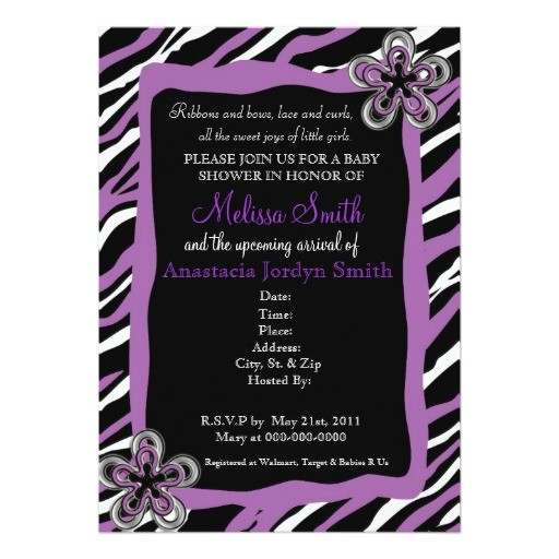 Purple Zebra Print Baby Shower Invitations Zebra Print Baby Shower Invitation Purple