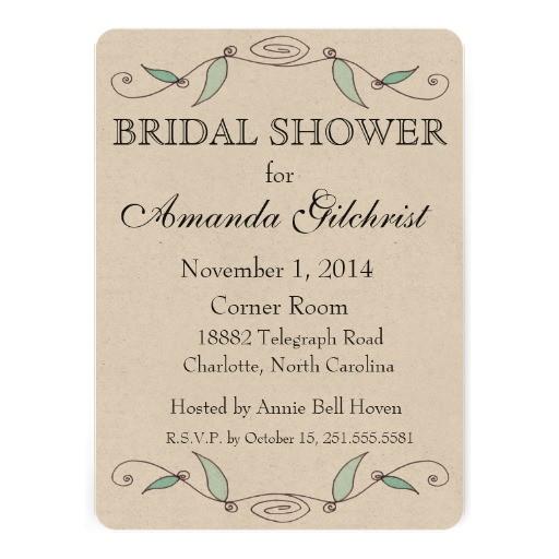 simple floral bridal shower invitation