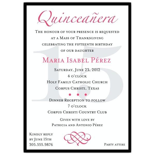 quinceanera invitation wording template