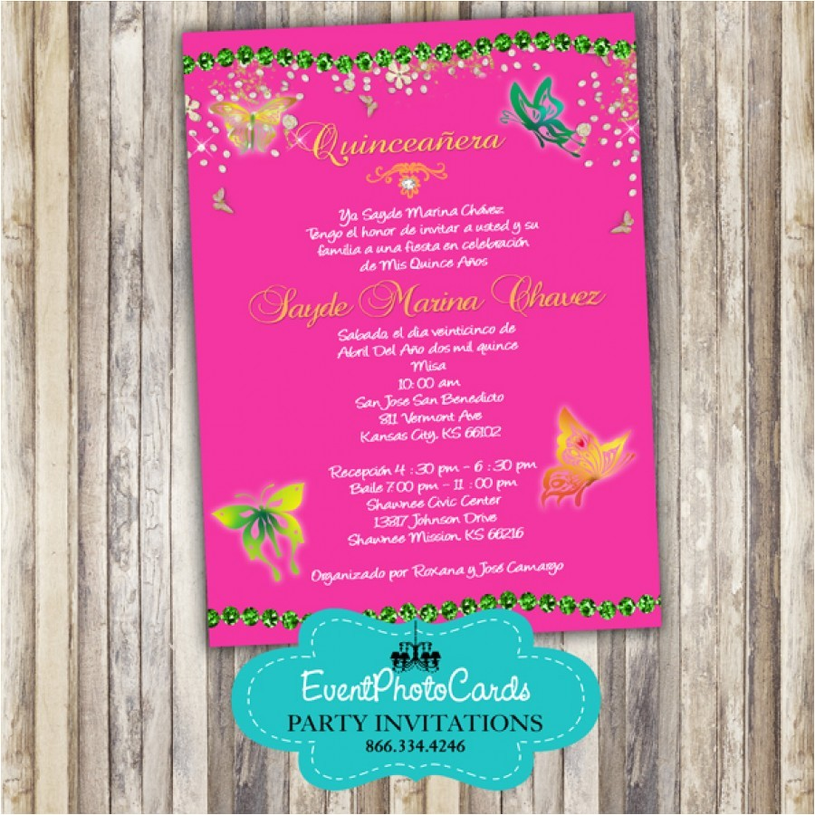 pink butterfly quinceanera invitations 2
